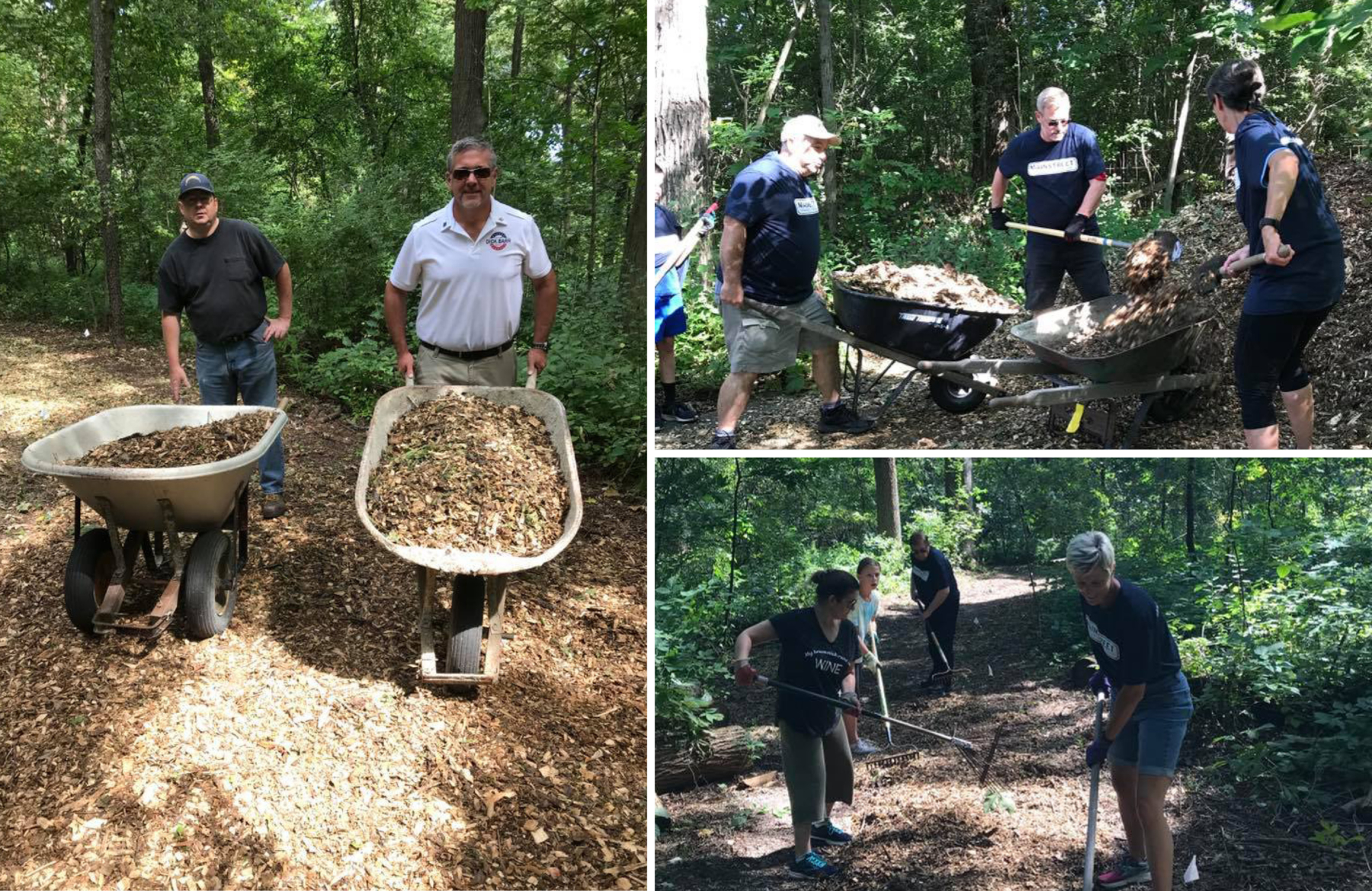 Volunteers clearing a historic walking path in the HeatherRidge Woods subdivision.